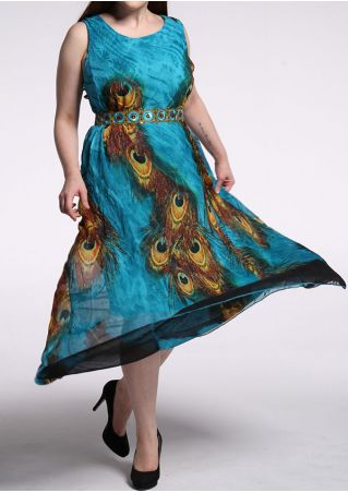 Peacock Feather Printed Maxi Dress