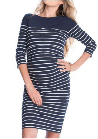 Striped Splicing Lactation Mini Dress