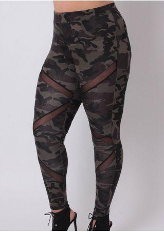 Camouflage Printed Mesh Splicing Leggings