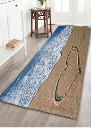 Beach Sea Heart Floor Rug