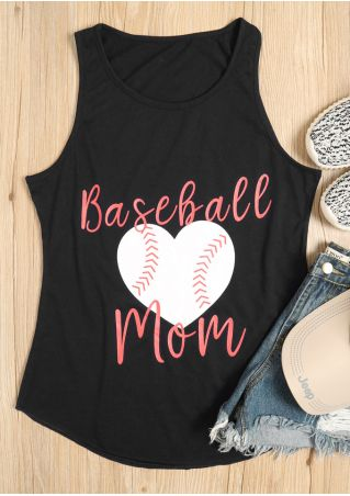 Baseball Mom Heart O-Neck Tank