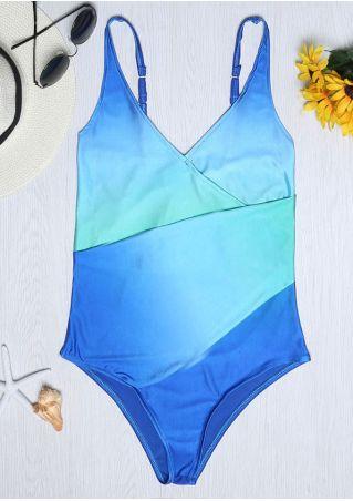 Gradient Color Spaghetti Strap V-Neck Swimsuit