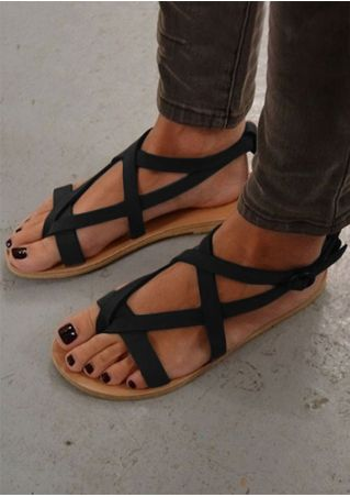 Solid Cross Buckle Strap Flat Sandals