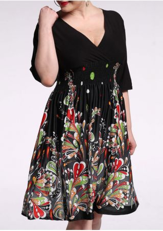 Printed Splicing V-Neck Casual Dress
