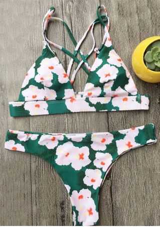 Floral Back Cross Bikini Set