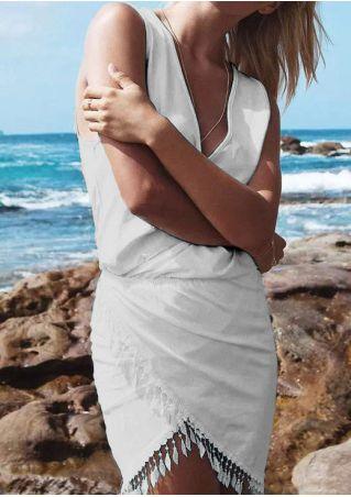 Solid Tassel Deep V-Neck Mini Dress without Necklace