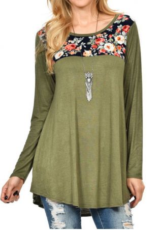Floral Splicing Blouse without Necklace