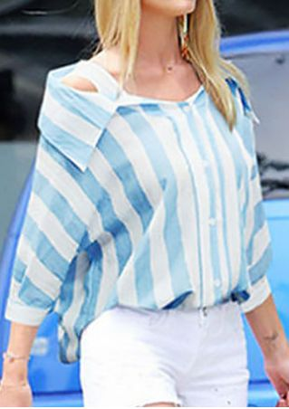 Striped Cold Shoulder Shirt without Necklace