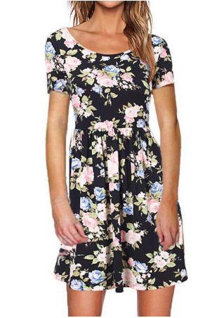 Floral O-Neck Short Sleeve Mini Dress