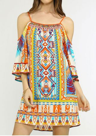 Bohemian Spaghetti Strap Cold Shoulder Mini Dress