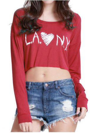 Letter Printed Heart Crop Top