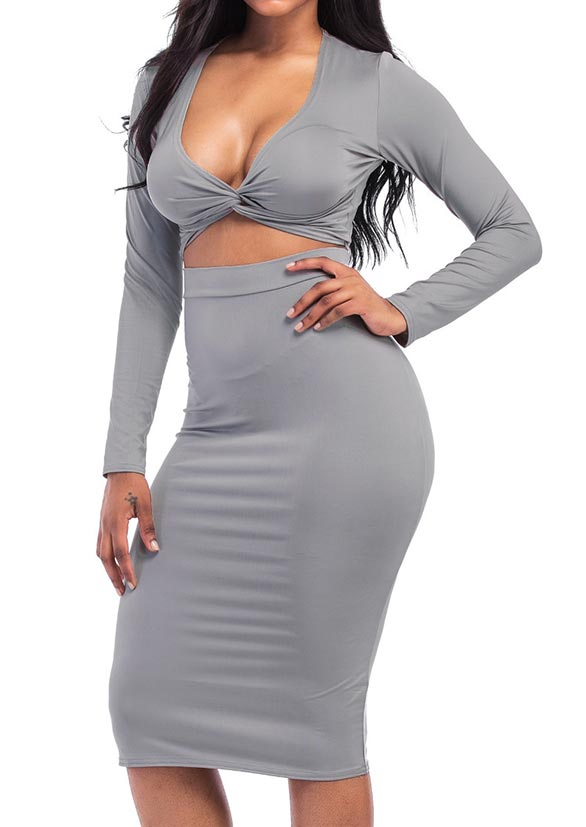 Solid Twist Long Sleeve Two-Piece Dress
