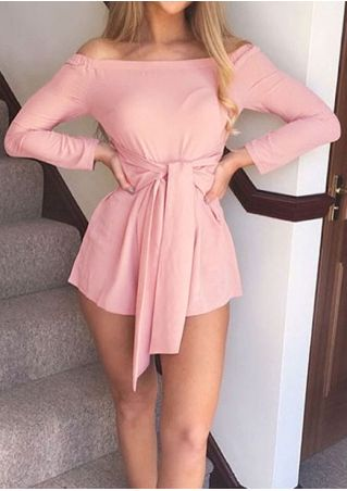 Solid Off Shoulder Tie Romper