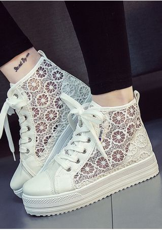 Hollow Out Lace Up Chunky Sole Sneakers