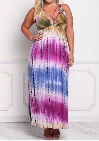 Tie Dye Criss-Cross Maxi Dress