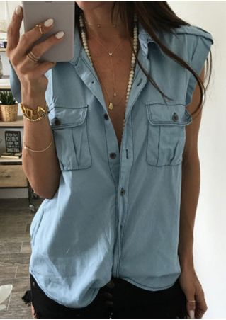Solid Button Denim Shirt without Necklace