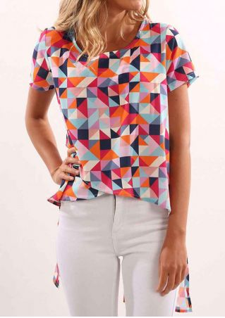 Multicolor Geometric Slit Asymmetric Blouse