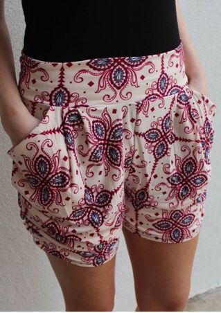 Printed Elastic Waist Pocket Shorts
