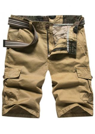 Solid Zipper Pocket Shorts without Belt