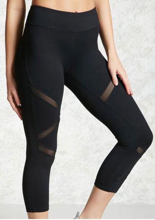 Solid Mesh Splicing Elastic Waist Sport Pants