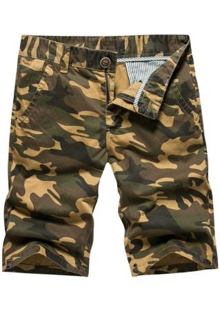 Camouflage Printed Button Pocket Shorts