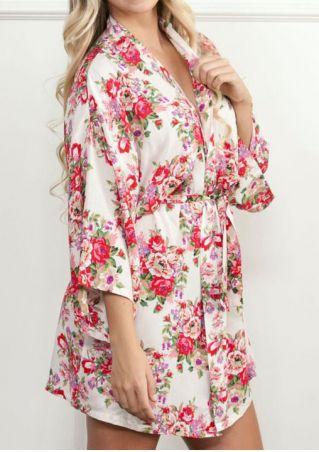 Floral Batwing Sleeve Mini Dress