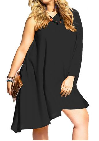 Solid One Shoulder Casual Dress without Necklace