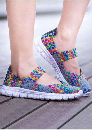 Multicolor Round Toe Flats