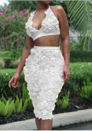 Solid Flower Halter Two-Piece Dress