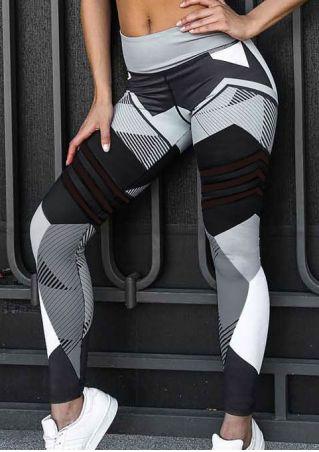 Printed Mesh Splicing Elastic Waist Sport Pants