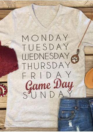 Game Day Printed V-Neck T-Shirt