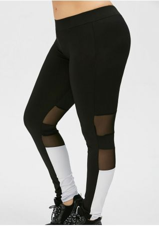 Color Block Mesh Splicing Sport Pants