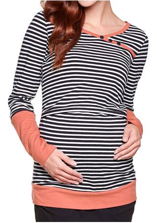 Striped Splicing Button Lactation T-Shirt