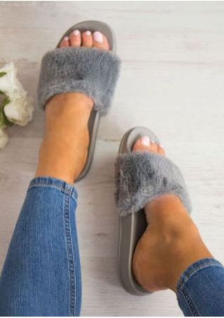 Solid Faux Fur Fluffy Flat Slide Slippers