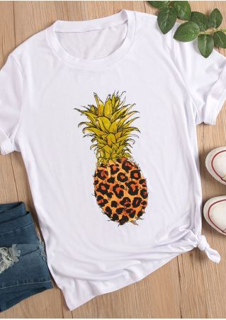 Pineapple Leopard Printed O-Neck T-Shirt