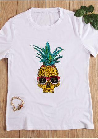 Pineapple Skull Sunglasses O-Neck T-Shirt