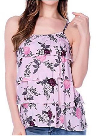 Floral Layered Flouncing Lactation Camisole