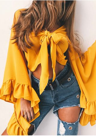 Solid Tie Flare Sleeve Crop Top