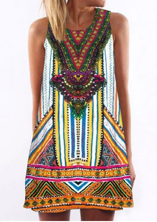Printed O-Neck Sleeveless Mini Dress