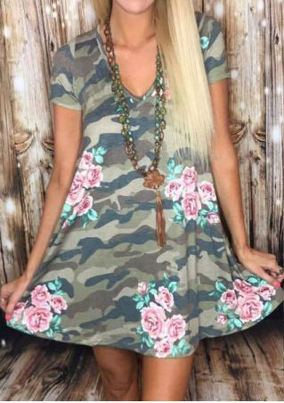 Floral Camouflage Printed Mini Dress without Necklace