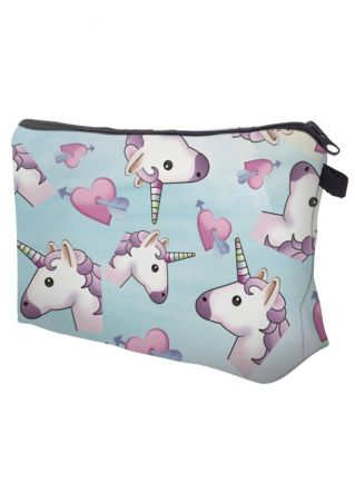 Unicorn Heart Arrow Cosmetic Bag
