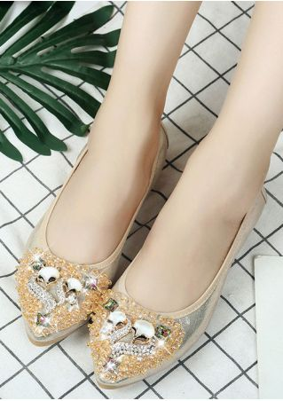 Imitated Crystal Pointed Toe Flats