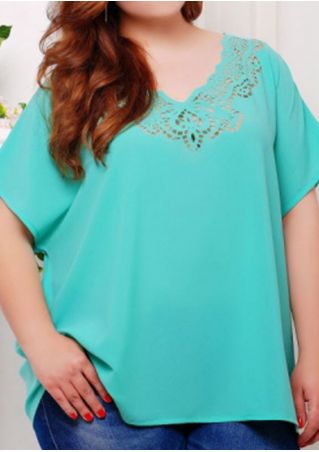 Plus Size Solid Hollow Out Chiffon Blouse