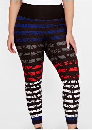 Plus Size Striped Printed Elastic Waist Sport Pants