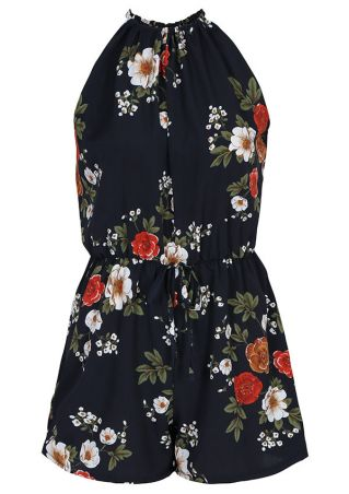 Plus Size Floral Drawstring Sleeveless Romper