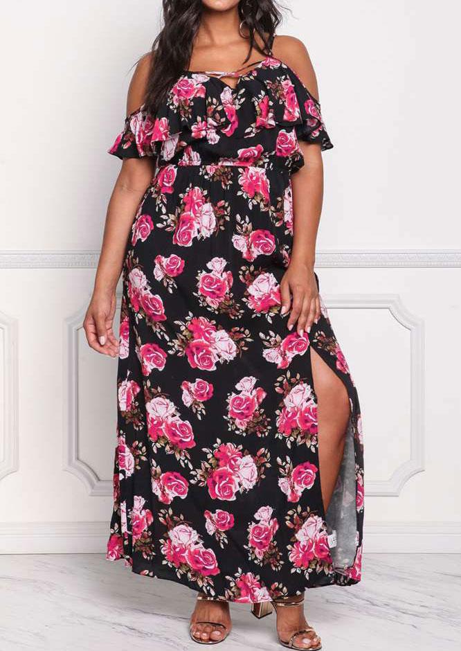 7df24bbaa5d Plus Size Floral Criss-Cross Cold Shoulder Maxi Dress - Bellelily