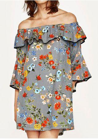 Floral Flouncing Off Shoulder Mini Dress