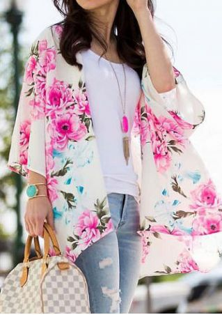 Floral Casual Kimono without Necklace