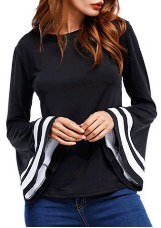Striped Splicing Flare Sleeve Blouse