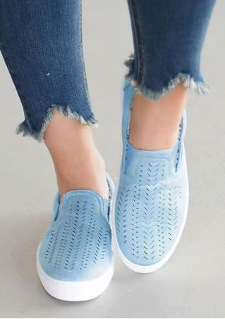Solid Hollow Out Slip-On Flats